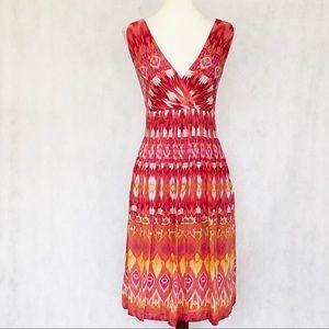 Eliza J Cotton/Silk Surplice Neck Sleeveless Dress